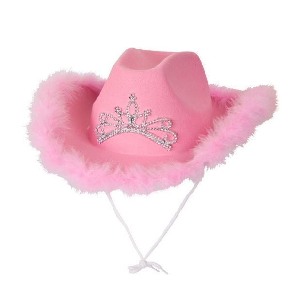 Pink Cowboy Hat With Feather Trim
